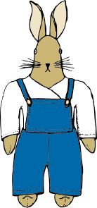 Bunny In Overalls Front View PNG Clip art
