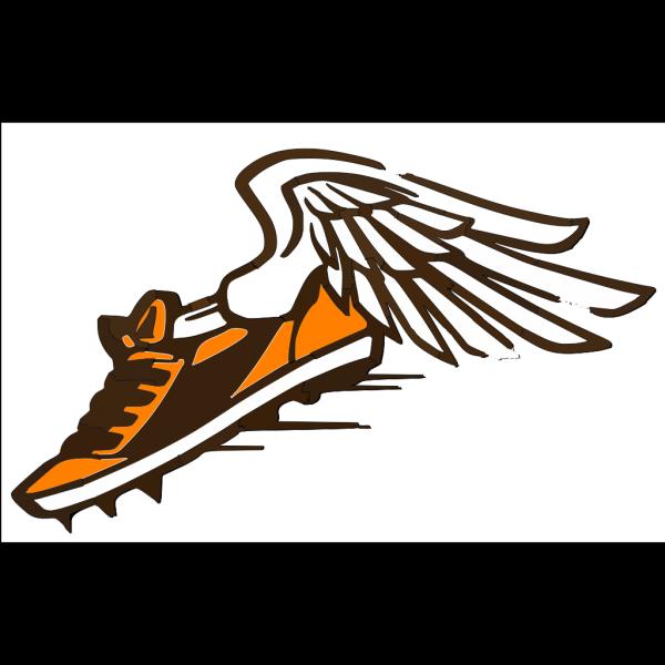 Orange & Brown Shoe White Bkgrnd PNG Clip art