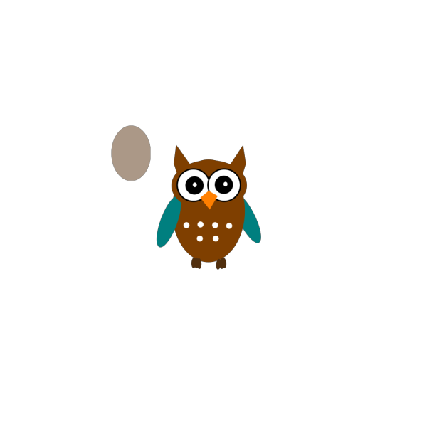 Owl Teal Brown clipart
