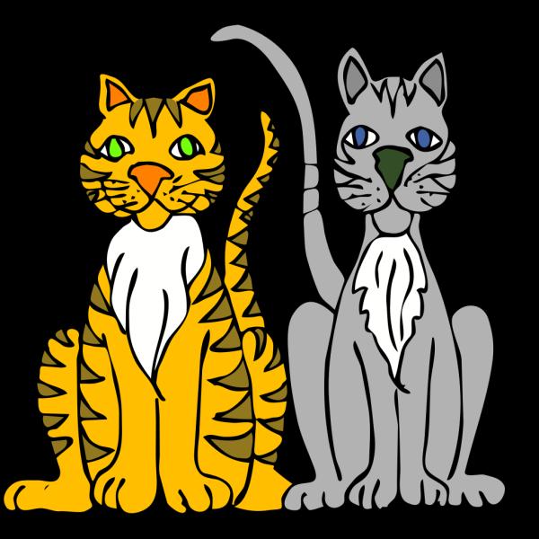 Two Cartoon Cats PNG Clip art