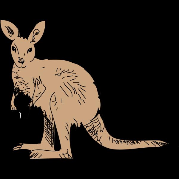 Simple Brown Kangaroo PNG Clip art