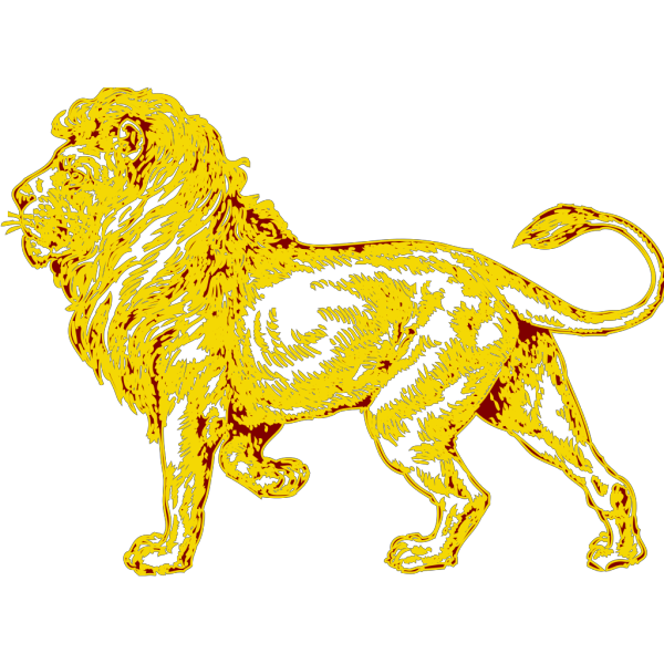 Lion In Gold With Brown Outline PNG Clip art