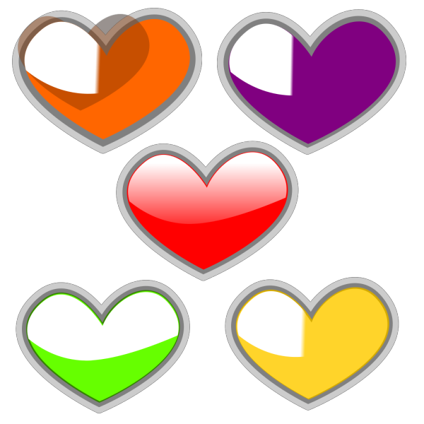 Hearts-multi-colored-glossy PNG Clip art