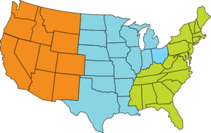 Three-region U.s. Map