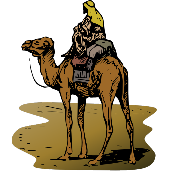 Camel With Rider In Color PNG Clip art