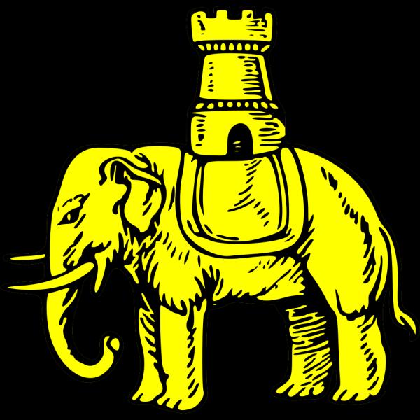 Gold Elephant And Castle Symbol PNG Clip art
