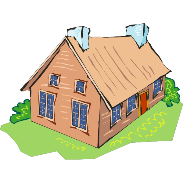 Brown Home With Two Blue Chimneys PNG Clip art
