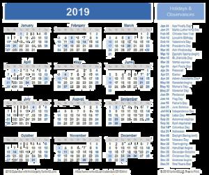 2019 Calendar Download PNG Image PNG Clip art