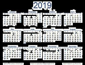 2019 Calendar PNG Image PNG Clip art