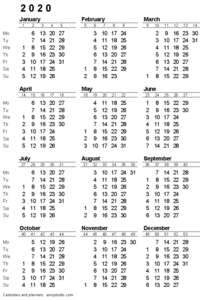 2020 Calendar PNG HD PNG Clip art