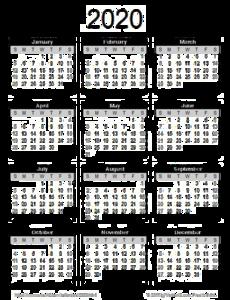 2020 Calendar PNG Pic PNG Clip art