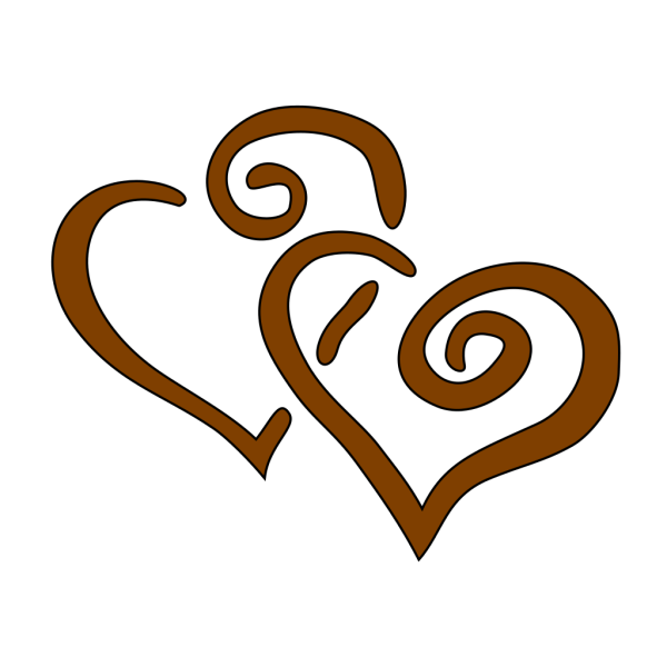 Brown Hearts Overlapping PNG Clip art