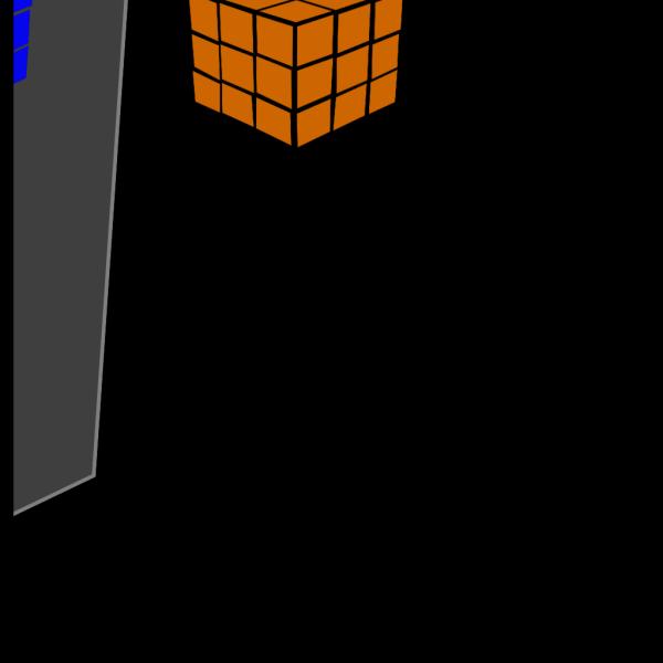 Orang And Blue Cubes PNG Clip art