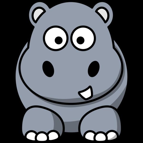 Simple Cartoon Hippo PNG Clip art