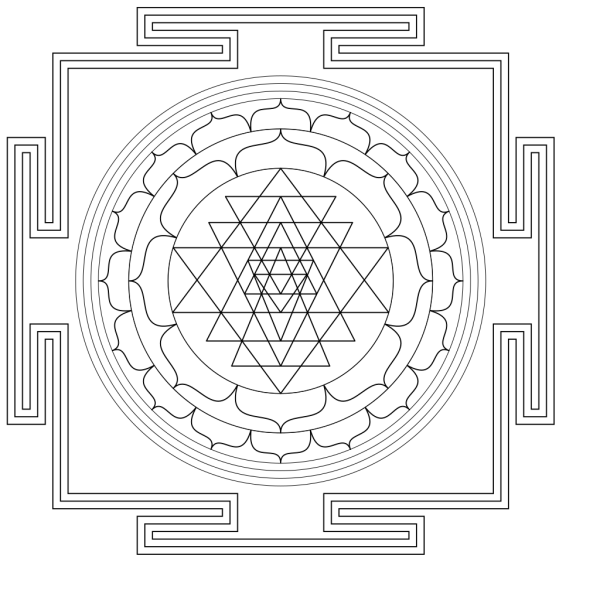 Shri Yantra - Black And White PNG Clip art
