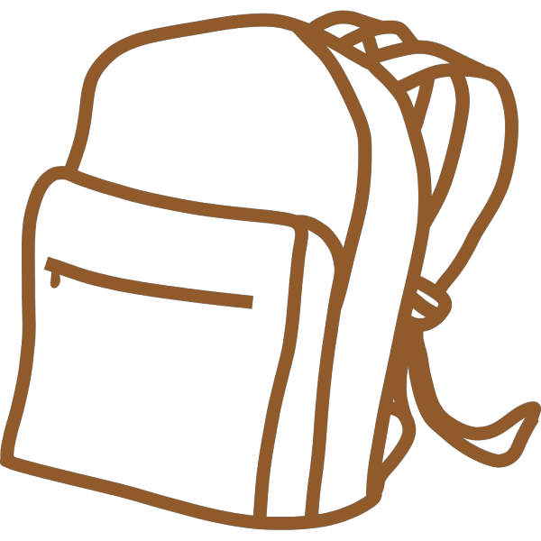 Brown Outline Backpack PNG images