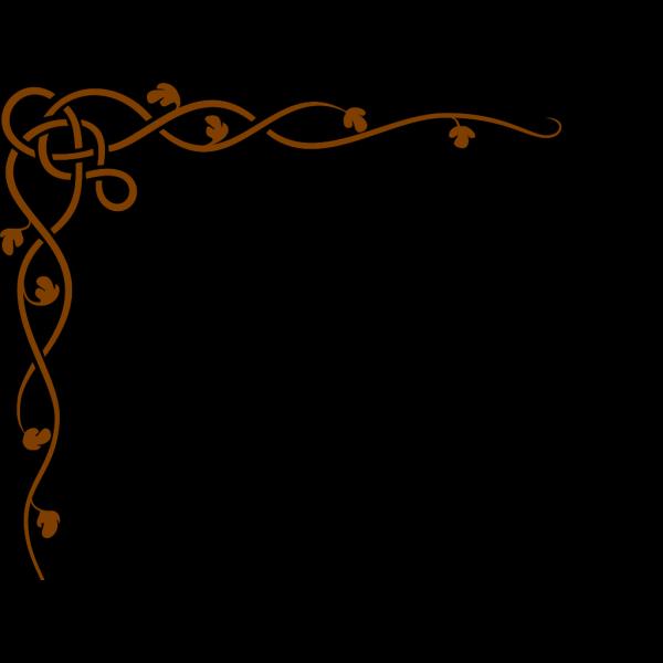 Brown Celtic Vine W/green Leaves PNG Clip art