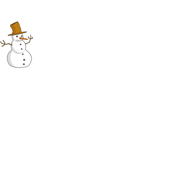 Snowman With Carrot Nose And Hat PNG images