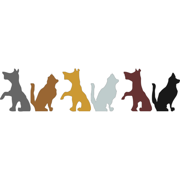 Multicolored Dog And Cat Silhouettes PNG Clip art