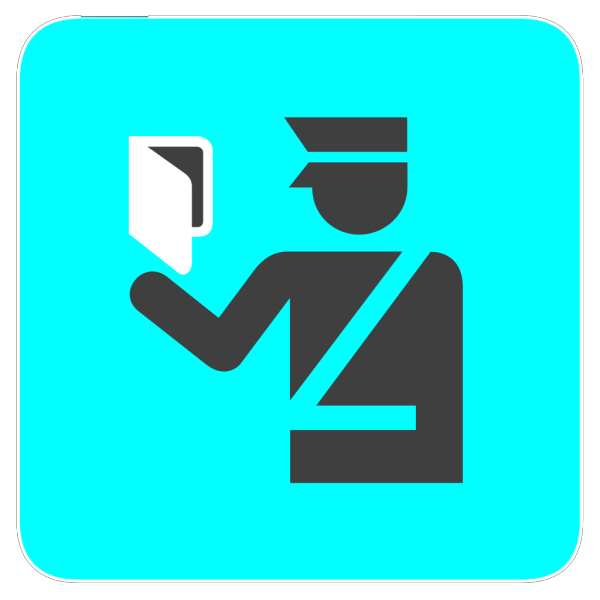 Immigration Police In Bright Blue PNG images