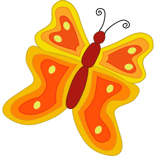 Orange And Red Cartoon Butterfly PNG Clip art