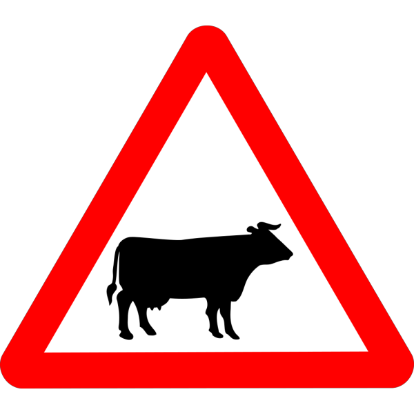 Cattle Crossing Warning PNG Clip art
