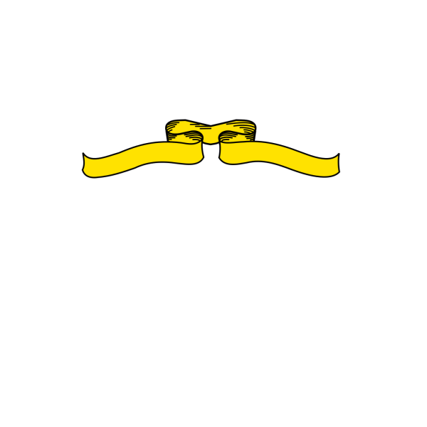 Yellow Ribbon Black Outline PNG Clip art