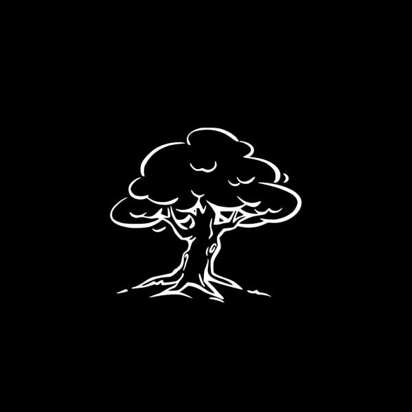 White Tree On Black PNG Clip art