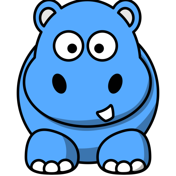 Blue Hippo Animated PNG Clip art