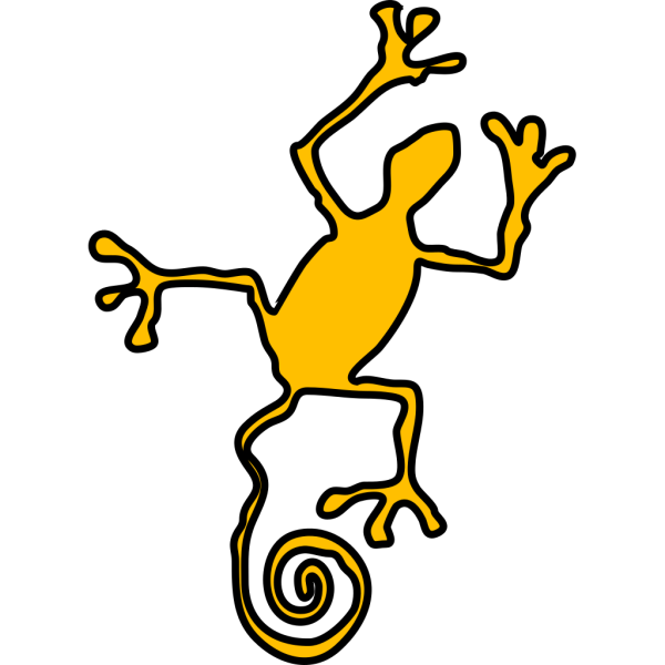 Yellow Reptile Silhouette PNG Clip art