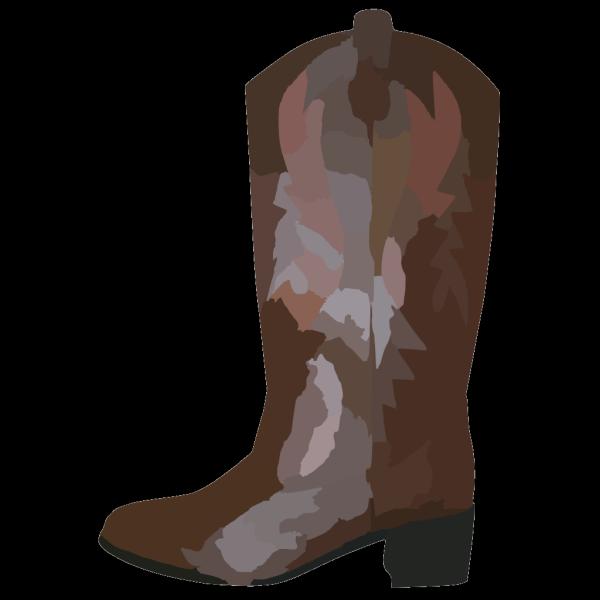 Adult Brown Cowboy Boots Reverse PNG Clip art