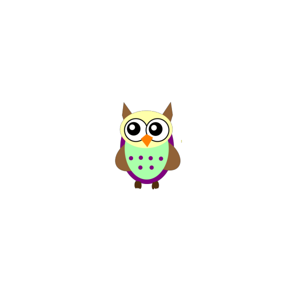 Purple Green Brown Owl PNG Clip art