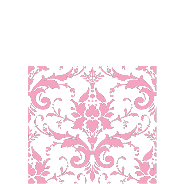 Pink Damask Rabbit With Blue Background PNG Clip art