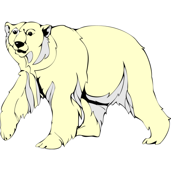 Furry Walking Polar Bear PNG Clip art
