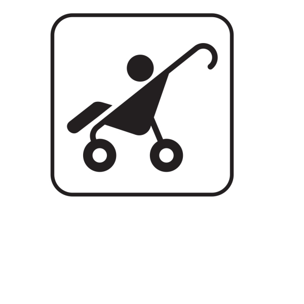 Stroller-black And White PNG Clip art