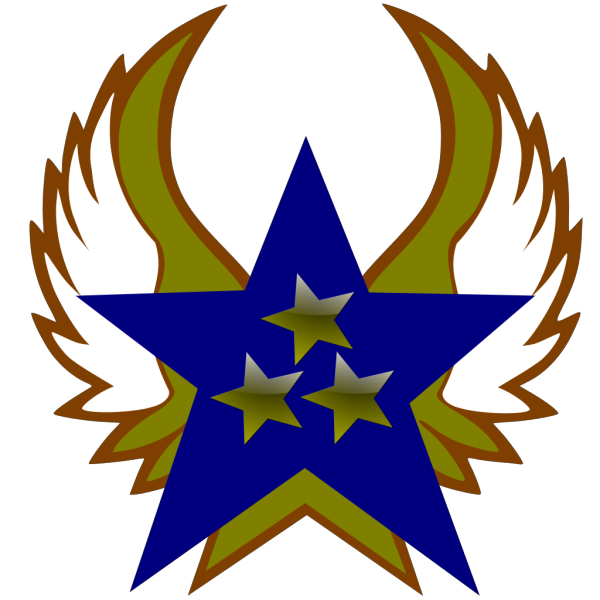 Blue Star With 3 Gold Star And Wings PNG Clip art
