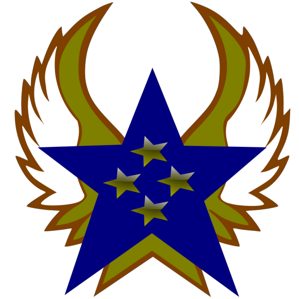 Blue Star With 4 Gold Star And Wings PNG Clip art