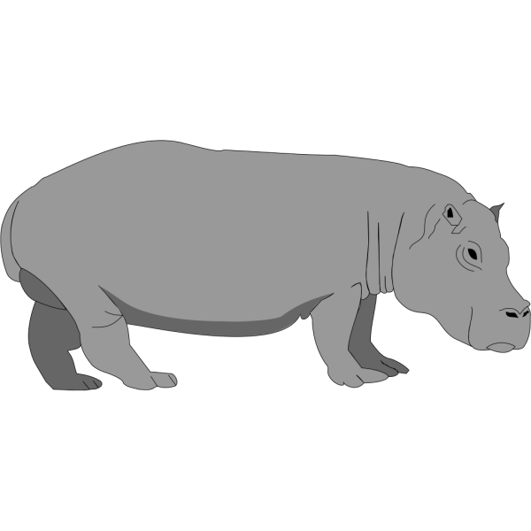 Gray Hippo PNG Clip art