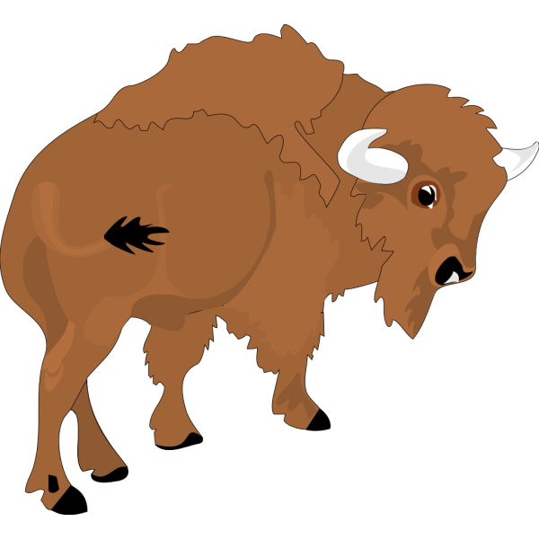 Cartoon Bison Rear View PNG Clip art