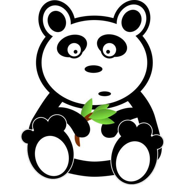 Cartoon Panda With Bamboo Leaves PNG icons