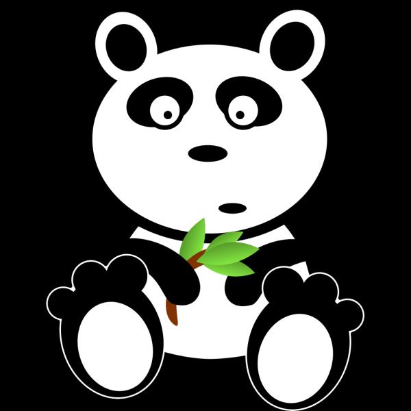Cartoon Panda With Bamboo Leaves PNG Clip art