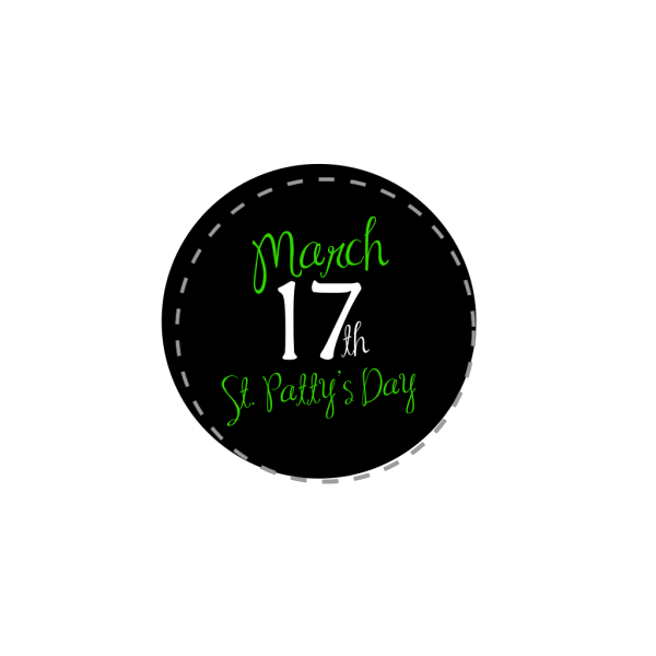 St Patricks Day Button Black PNG Clip art
