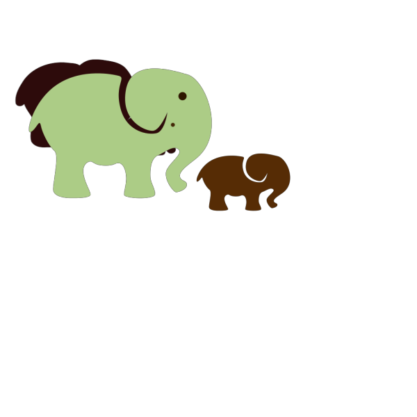 Elephant Mom & Baby PNG Clip art