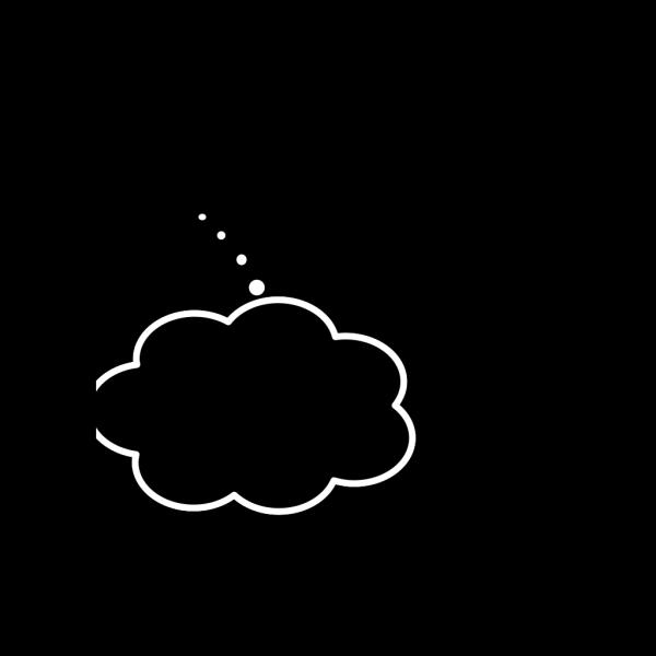 Black Thought Bubble White Line PNG Clip art