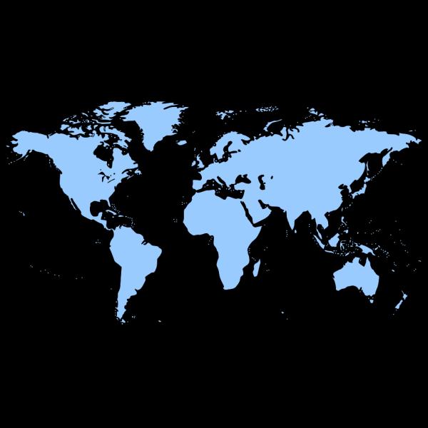 Black White Outline World Map No Background PNG Clip art