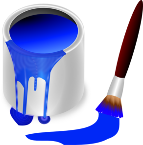 Blue Paint Brush And Can PNG Clip art