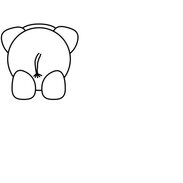 Elephant Rear - Bw PNG Clip art