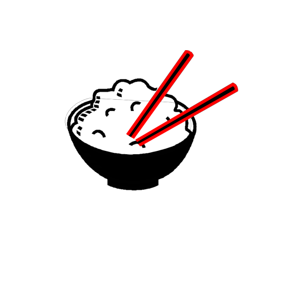 Rice Bowl Black And Red Centered PNG Clip art