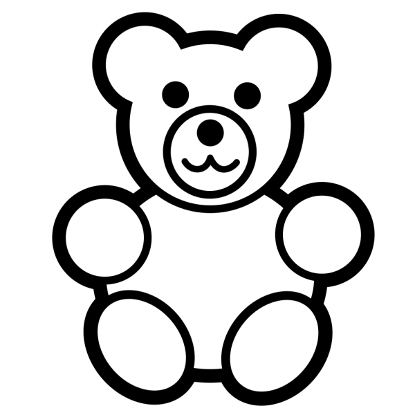 Circle Teddy Bear Black And White PNG Clip art