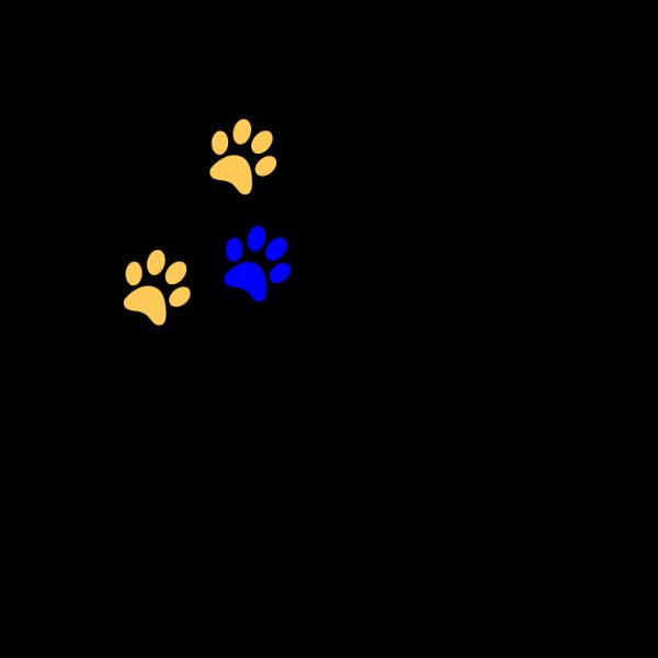 Blue/gold Paw Print PNG Clip art
